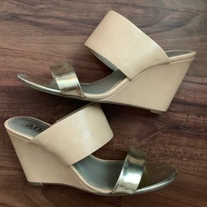 Nude/Dusty Pink and Gold Wedge Sandals, Size 9